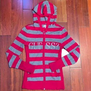 GUESS striped zipper up sweatshirt